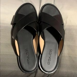 Coach Hailey bead sandals W8.5 black leather